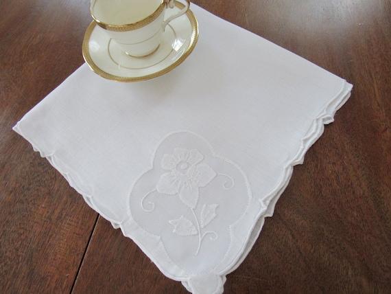 Napkins white linen applique corner etsy