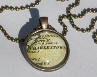 Charleston Historic Map Necklace