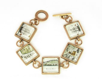 Antique Copper Historic Saint Augustine Map Link Bracelet