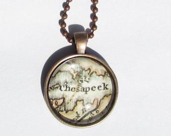 Historic Chesapeake Bay Map Necklace
