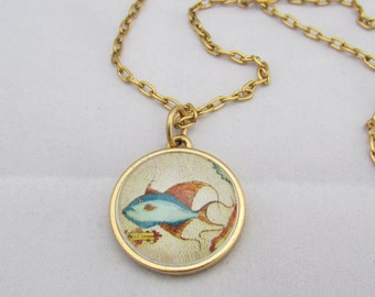 Fish Historic Map Necklace