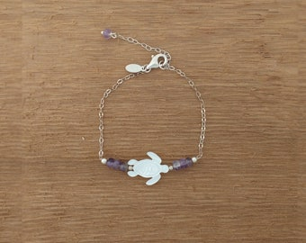 Mother of Pearl Turtle and Amethyst Bracelet