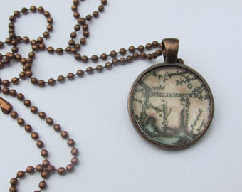 Colonial Williamsburg Historic Map Necklace