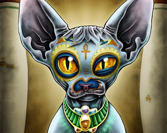 """8 x 10"""" Matted Egyptian Day of the Dead Cat Art Print - """"Babista"""""""