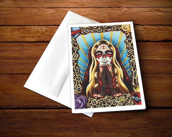5 x 7 praying day of the dead woman greeting card etsy image 0 m4hsunfo