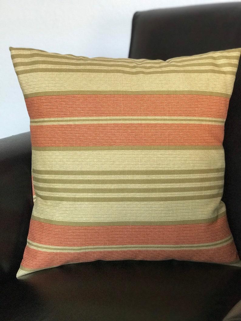 Accent Pillow Cover Single Pillow Cover 18x18 inch square Robert Allen Nautica Harbor Stripe in Sienna Home Decor Fabric