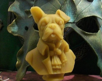 Victorian Boxer Boston Terrier Dog Bust Beeswax Candle Dog Puppy Dog