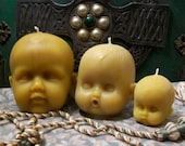 Set of 2 Small Baby Head Beeswax Candles Choice Of Color Creepy Baby