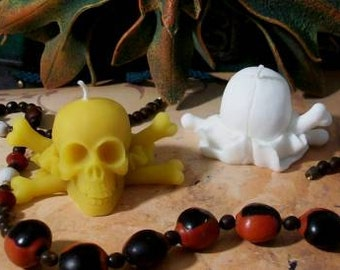 2 Skull Beeswax Candle Skull And Crossbones