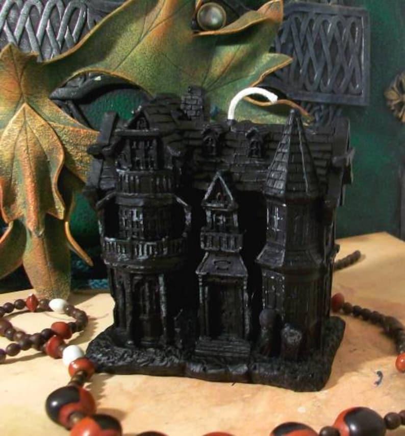 Haunted House Black Beeswax Candle Large Size image 0