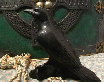 Raven Crow Bird Black Beeswax Candle Large Size