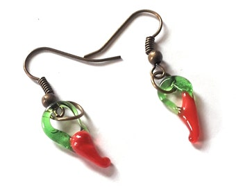 Long, Southwest, Red Hot Chili Pepper, Boho Earrings