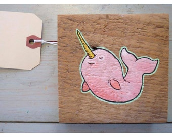 Made to Order -- The Optimistic Narwhal - Original Painting on Reclaimed Barn wood