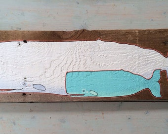 Made to order- Mama and Baby Sperm Whales on Reclaimed Maine Barnwood, Mother's Day, Nursery