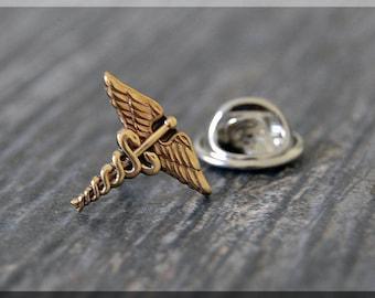 Caduceus Tie Tac, Nursing Lapel Pin, Medical Brooch, nursing badge pin, Gift Under 10 Dollars, Medical Field Tie Tack,Nursing Gift Lapel Pin
