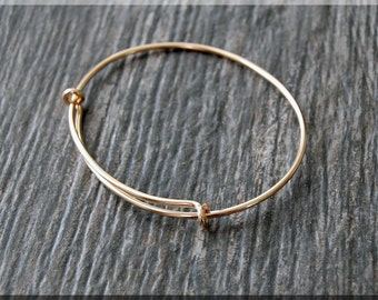14k Solid Gold Expandable Bangle bracelet, Smooth 14k Gold Bangle, Solid Rose Gold Bracelet, Adjustable 14k Gold Bracelet, 14k Gold Jewelry