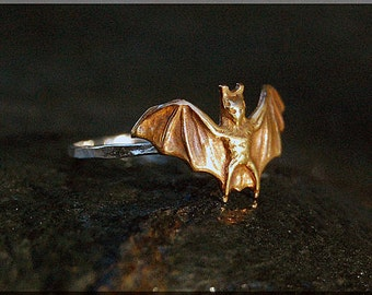 Bat Stacking Ring, Sterling Silver and Brass ring, Vampire Stacking Ring, Halloween Ring, Brass Bat Stacking Ring, Gold Vampire Bat Ring
