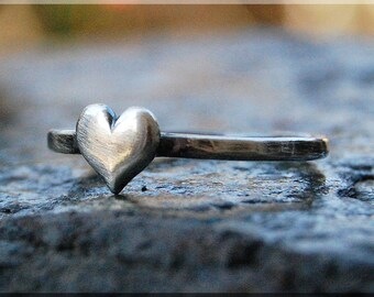 Sterling Silver Heart Ring, Simple Stacking Ring, Dainty Sterling Ring, Handmade Stackable Sterling Silver Ring, Heart Stacking ring