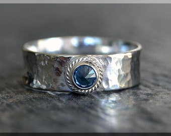 Wide Sterling Silver Birthstone Ring, Choose Your Birthstone, Stacking Gemstone Ring, Mothers Ring, Rope Bezel Ring, Inverted Setting