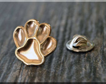 Brass Paw Print Tie Tac, Lapel Pin, Animal Lover Brooch, Gift for Him, Gift Under 10 Dollars, Dog Tie Tack, Dog Lover Unisex Pin