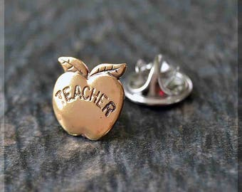 Brass Teacher Apple Tie Tac, Apple Lapel Pin, Teacher Brooch, Gift for Him, Gift Under 10 Dollars, Tie Tack, Favorite Teacher Gift