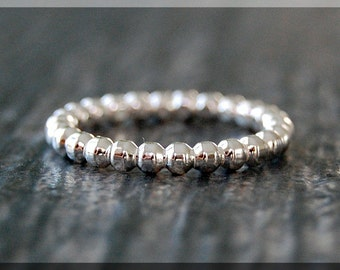 Beaded Sterling Silver Ring, Sterling Silver Stacking Ring, Full Bead Sterling Ring, Beaded Silver Ring, Full Bead Silver Stacking ring