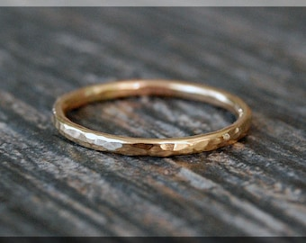 Solid 14k Gold Hammered Ring, Solid Gold Stacking Ring, 14k Gold Stacking Ring, hammered gold ring, Dainty stacking ring, solid gold ring