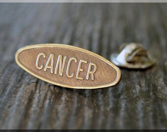 Brass CANCER Tie Tac, Lapel Pin, Zodiac Brooch, Gift for Him, Gift Under 10 Dollars, Astrology Sign Pin, Unisex Pin, CANCER Pin