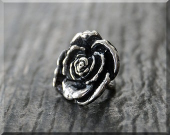 Sterling Silver European Style Rose Charm, Handmade Slide Charm, Personalized Flower Charm, Big Hole Bead, Botanical Slider Charm