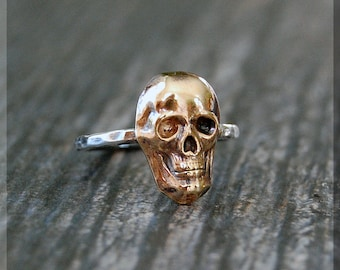 Skull Stacking Ring, Sterling Silver and Brass ring, Stacking Ring, Halloween Skull Ring, Brass Skull Stacking Ring, Gold Skull Ring