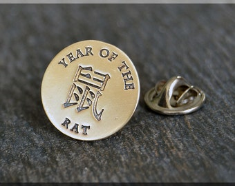 Brass Year of the Rat Tie Tac, Lapel Pin, Zodiac Brooch, Gift for Him, Gift Under 10 Dollars, Unisex Zodiac Pin, Chinese Zodiac Pin
