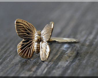 Butterfly Stacking Ring, Sterling Silver and Brass ring, Stacking Ring, Graceful Butterfly Ring, Statement stacking ring, Insect Ring
