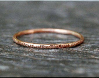Ultra Thin 14k Rose Gold Filled Twig Ring, Bark Texture Ring, Stacking Ring, Rose Gold Thin Ring, Woodland Ring, Gold Filled Ring