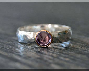 Sterling Silver Birthstone Ring, Choose Your Birthstone, Inverted Gemstone Ring, Wide Hammered Ring, Stacking Birthstone Ring, Mixed Metals