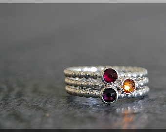 Set of 3 Sterling Silver Birthstone Stacking Rings, Swarovski Gem Ring, Mother's Ring Stack, Swarovski Stacking Ring, Mother's Day Gift