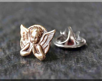 Brass Praying Angel Tie Tac, Lapel Pin, Angel Brooch, Gift for Him, Gift Under 10 Dollars, Tie Tack, Angel Accessory, Unisex Pin