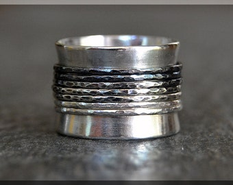 Ombre Spinner Ring, Sterling Silver Fidget Ring, Worry Ring, Wide Meditation ring, Hammered Spinner Ring, Middle Finger, Index Finger Ring