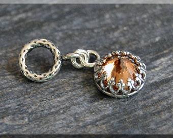 Sterling Silver European Style November Birthstone Charm, Gemstone Slide Charm, Personalized Charm, Big Hole Bead, Topaz Slider Charm
