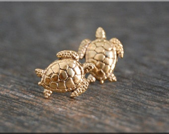 Sea Turtle Earrings. Turtle Post Earrings, Brass Sea Turtle Stud Earrings, Handmade sterling silver post earrings, Ocean Life earrings