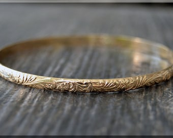 14k Gold Filled Floral Pattern Bangle, Textured Gold Filled Bangle Bracelet, Stacking Bangle, Layering Bangle, Thick Floral Gold Bangle