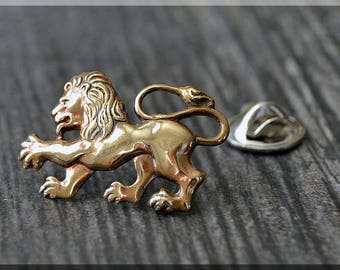 Brass Lion Tie Tac, Lapel Pin, Animal Lover Brooch, Gift for Him, Gift Under 10 Dollars, Leo Tie Tack, Zodiac Sign Leo Unisex Pin
