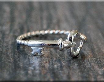 Skeleton Key Stacking Ring, Sterling Silver Ring, Stacking Jewelry, Sterling Silver Jewelry, Key Stackable Ring, Wish Ring, Layering Ring