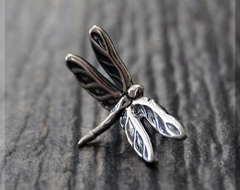 Sterling Silver European Style Dragonfly Charm, Handmade Slide Charm, Personalized Insect Charm, Big Hole Bead, Dragonfly Slider Charm