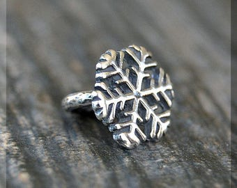 Sterling Silver European Style Snowflake Charm, Handmade Slide Charm, Personalized BHB Winter Charm, Big Hole Bead, Fantasy Slider Charm