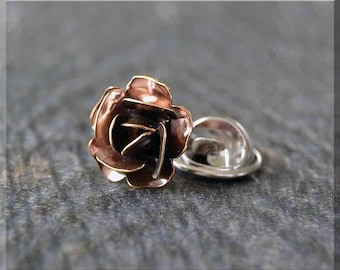 Brass Rose Tie Tac, Lapel Pin, Rose in Bloom Brooch, Gift for Him, Gift Under 10 Dollars, Flower Tie Tack, Flower Accessory, Unisex Pin