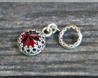 Sterling Silver European Style January Birthstone Charm, Gemstone Slide Charm, Personalized Charm, Big Hole Bead, Garnet Slider Charm