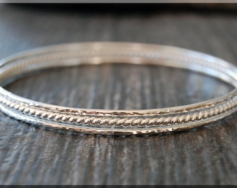 Set of 3 Sterling Silver Bangle Bracelets, Twisted Bangle Set, Hammered Bangle, Stacking Bracelet, Sterling Silver Layering Bangle