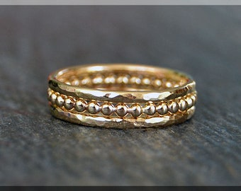 Set of 3 14k Gold Filled Stacking Rings, Simple Stacking Rings, Stackable Gold Rings, Full Bead Ring, Hammered Ring, Gold Ring