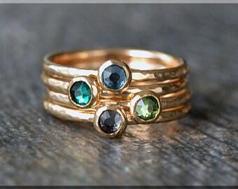 Set of 4 14k Gold Filled Birthstone Stacking Rings, Swarovski Gem Ring, Mother's Ring Stack, Swarovski Stacking Ring, Mother's Gift