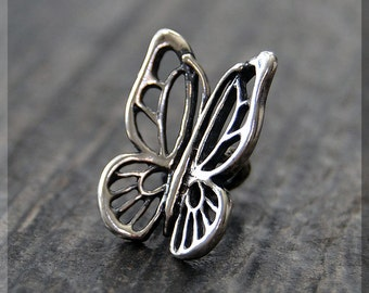 Sterling Silver European Style Butterfly Charm, Handmade Slide Charm, Personalized Insect Charm, Big Hole Bead, Butterfly Slider Charm